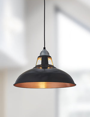 Industrial Vintage Old Factory Dark Pewter & Copper Pendant Light by Industville