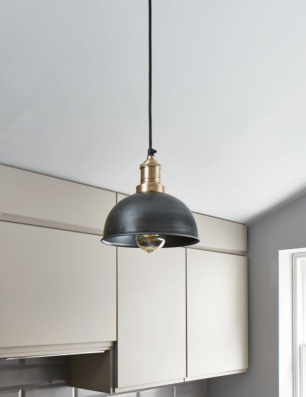 Industrial Brooklyn Small Dome Pewter Pendant Light by Industville - Brass Holder