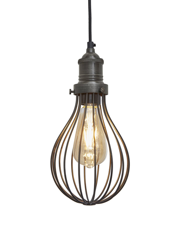 Industrial Brooklyn Balloon Cage Pewter Pendant Light by Industville