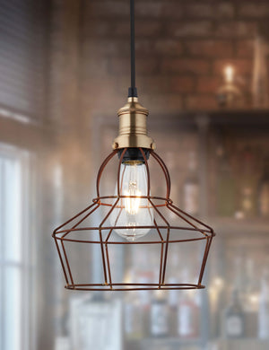 Simple Industrial Wire Cage Rose Pendant Light by Industville