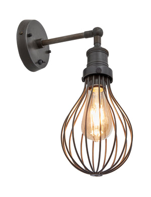 Industrial Brooklyn Balloon Cage Pewter Wall Light by Industville