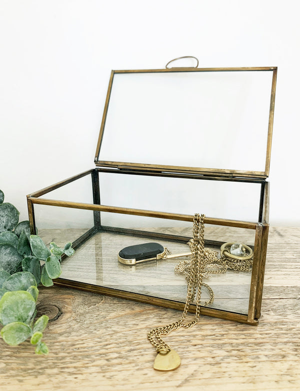 Antique Brass & Glass Jewellery Box