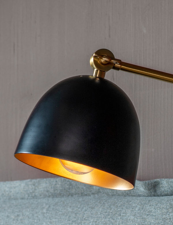 Antique Brass & Black Wall Lamp