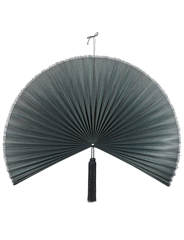 Bamboo Fan Wall Hanging - Black Large