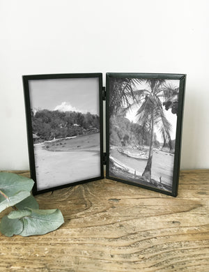Black Industrial Double Picture Frame