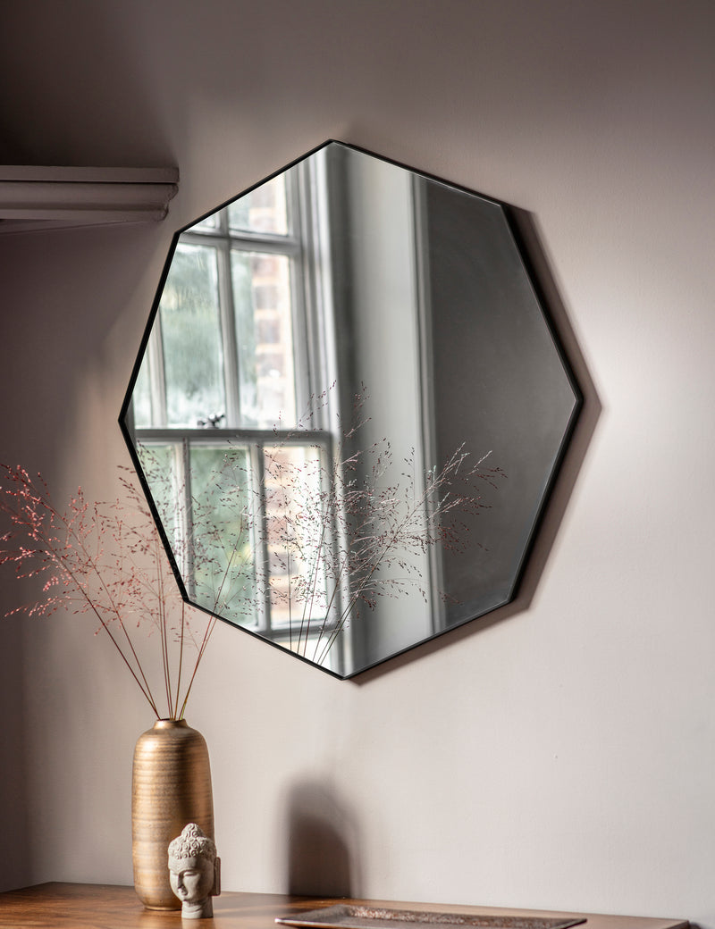 Black Octagon Mirror