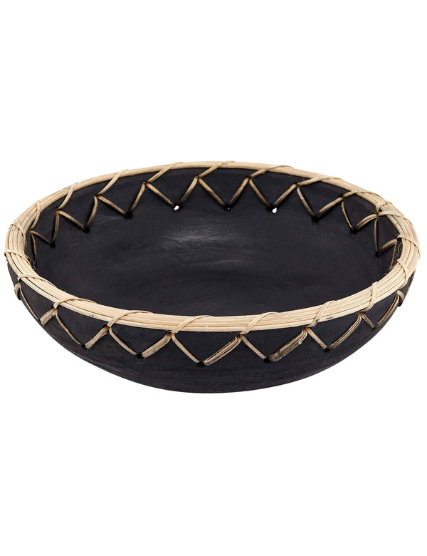 Black Terracotta & Bamboo Bowl