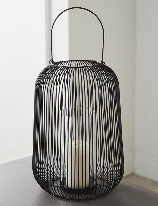 Black Wire Hurricane Lantern (Large)