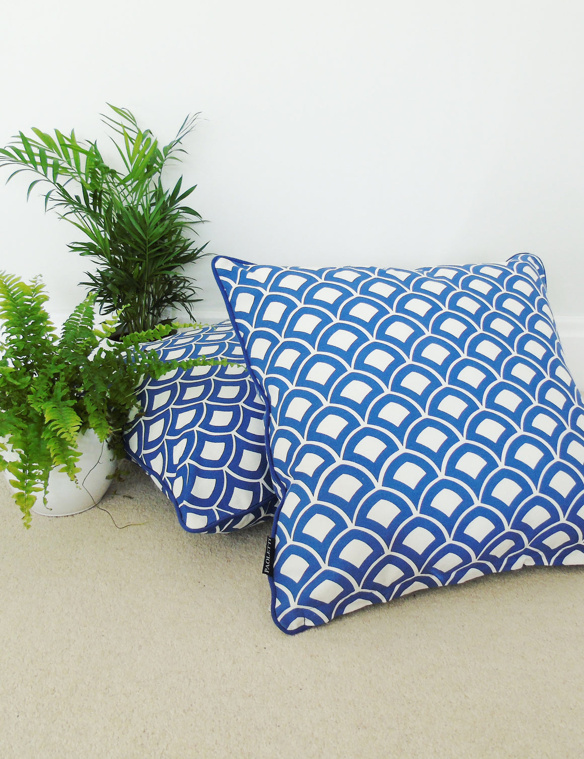 Blue Moroccan Print Cushion