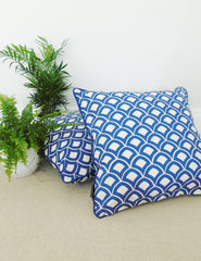 Blue Moroccan Print Cushion | Buy Stylish Homeware | The Den & Now