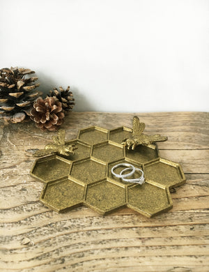 Brass Bee Hive Jewellery Dish