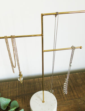 Brass & Marble Jewellery Stand