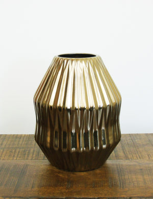 Bronze Geometric Ceramic Vase