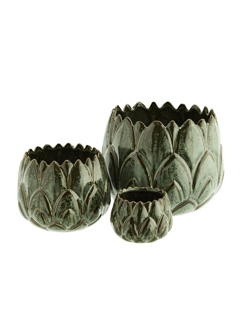 Ceramic Green Leaf Plant Pots (set of three)