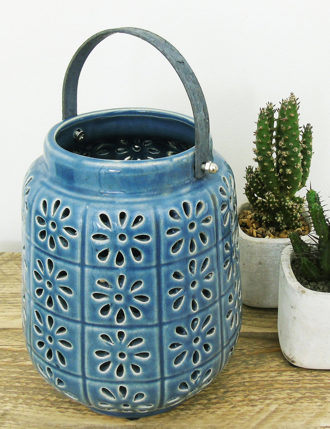 Blue Ceramic Hurricane Jar