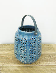 Blue Ceramic Hurricane Jar | Buy Stylish Homeware | The Den & Now