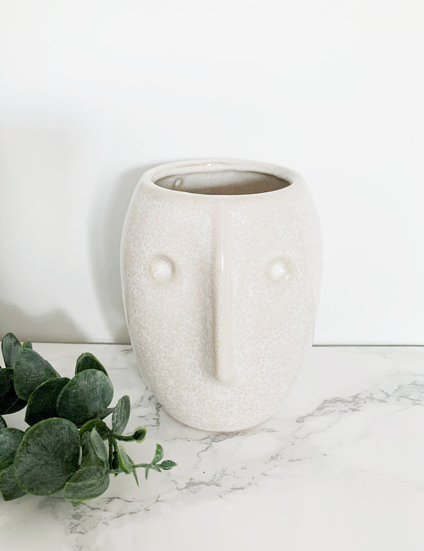 Ceramic Small Face Vases - Off White Natural