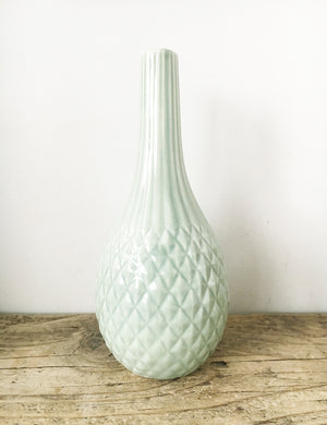 Mint Ceramic Textured Vase