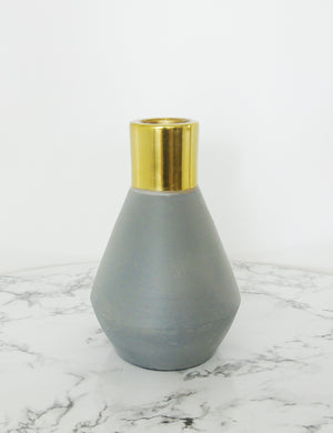 Concrete & Gold Candlestick - Curved