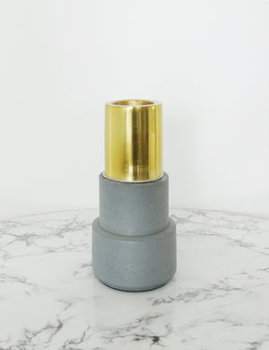 Concrete & Gold Candlestick - Stacked
