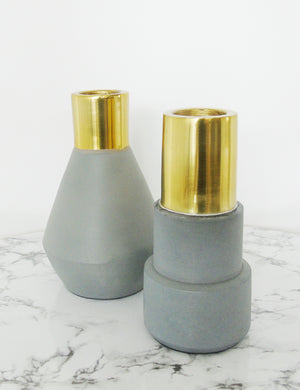 Concrete & Gold Candlestick