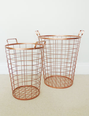 Copper Wire Baskets - Pair