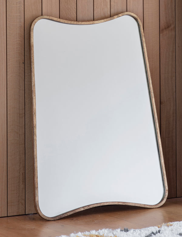 Curved Rectangle Gold Mirror