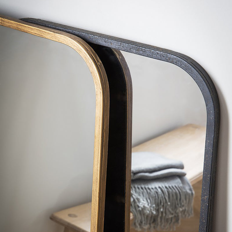 Curved Rectangle Gold & Black Mirrors