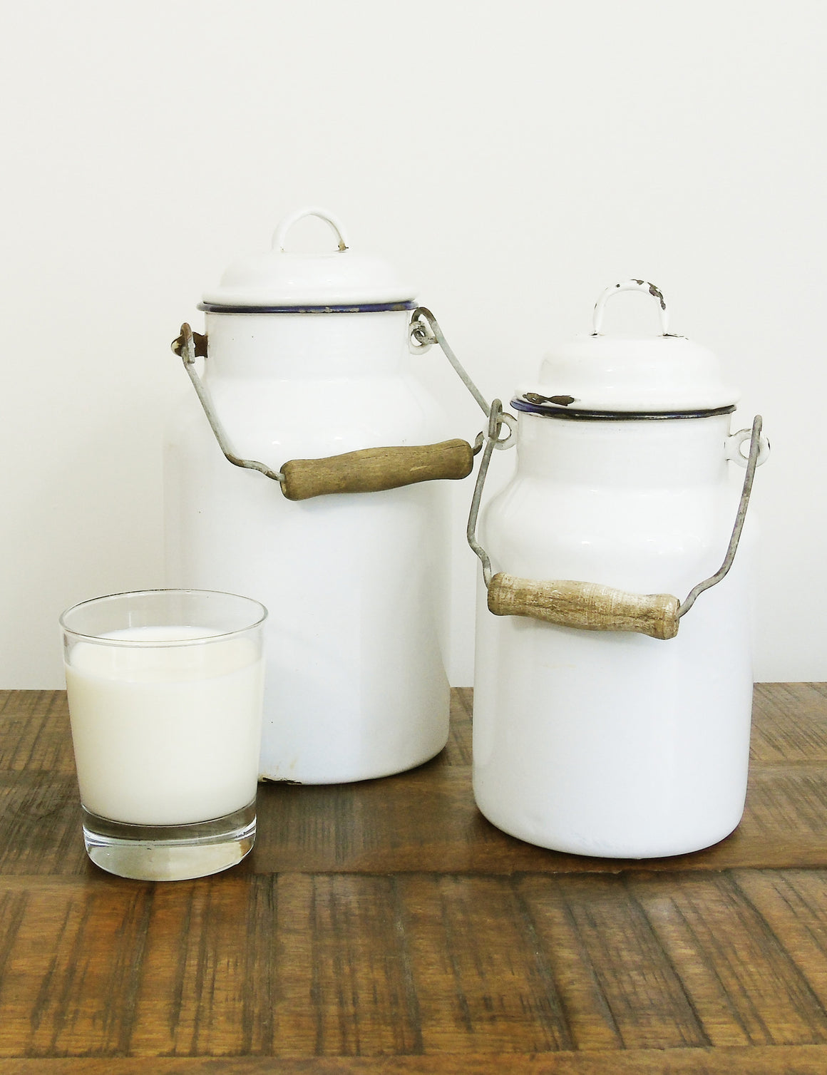 Enamel Milk & Honey Churns - pair