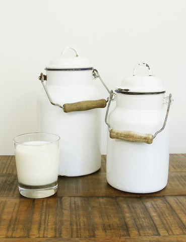 Enamel Milk & Honey Churns (pair)
