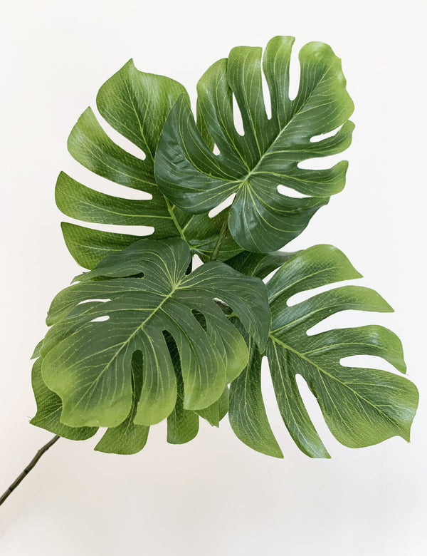 Faux Monstera 'Cheese Plant' Five Leaf Spray