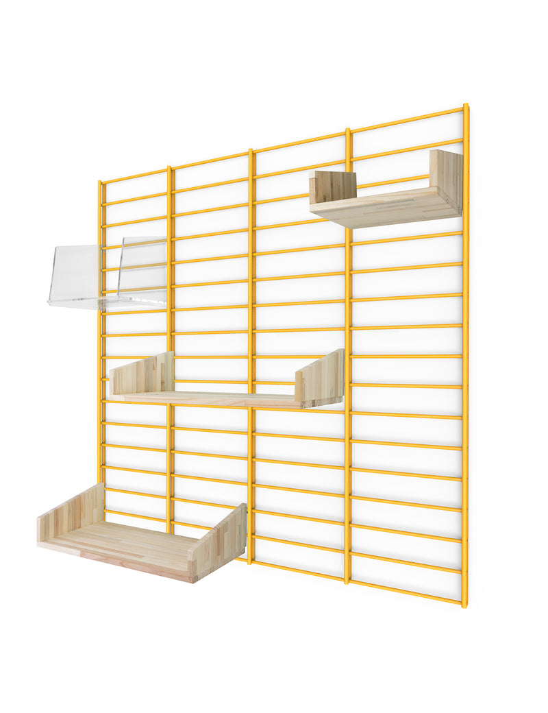 Fency Reclaimed Medium Wall Storage Shelving Unit - Yellow