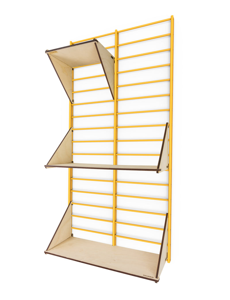 Fency Reclaimed Small Wall Storage Shelving Unit - Yellow - Laser Wood Shelves