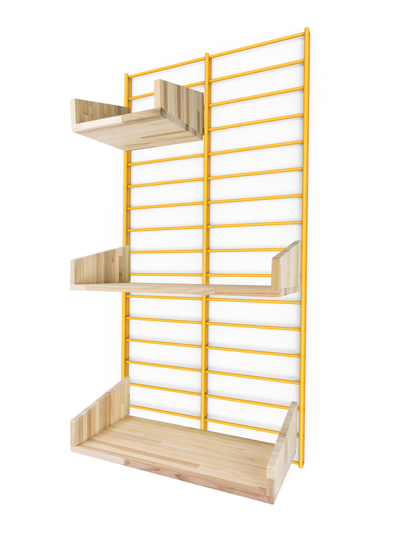 Fency Reclaimed Small Wall Storage Shelving Unit - Yellow - Pallet Shelves