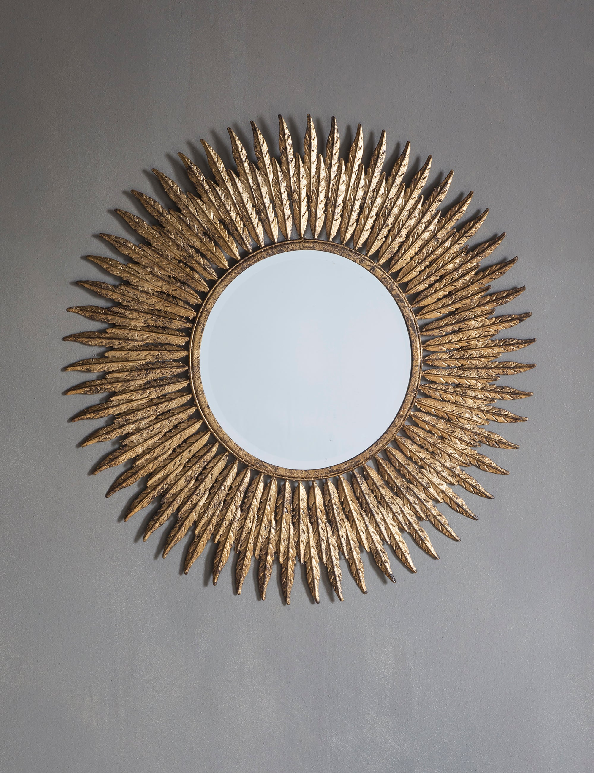 Gold Feather Round Mirror