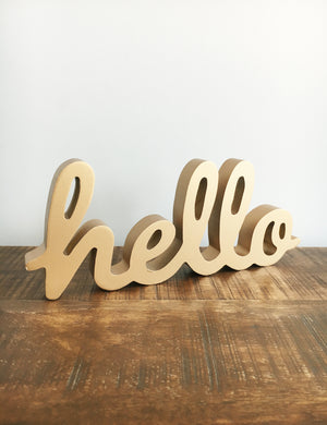 Gold Hello Standing Sign