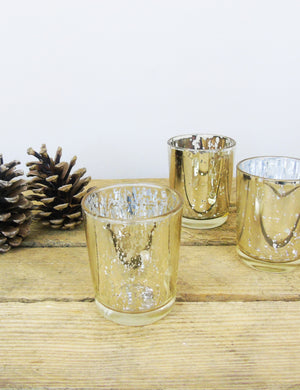 Gold Mercury Glass Tea Light Holder