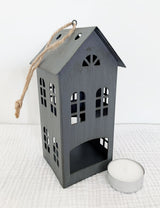 Grey Scandi House Tea Light Holder