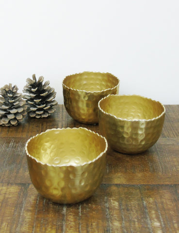 Hammered Brass Tea Light Holder