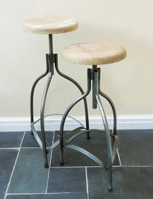 Industrial Adjustable Bar Stool