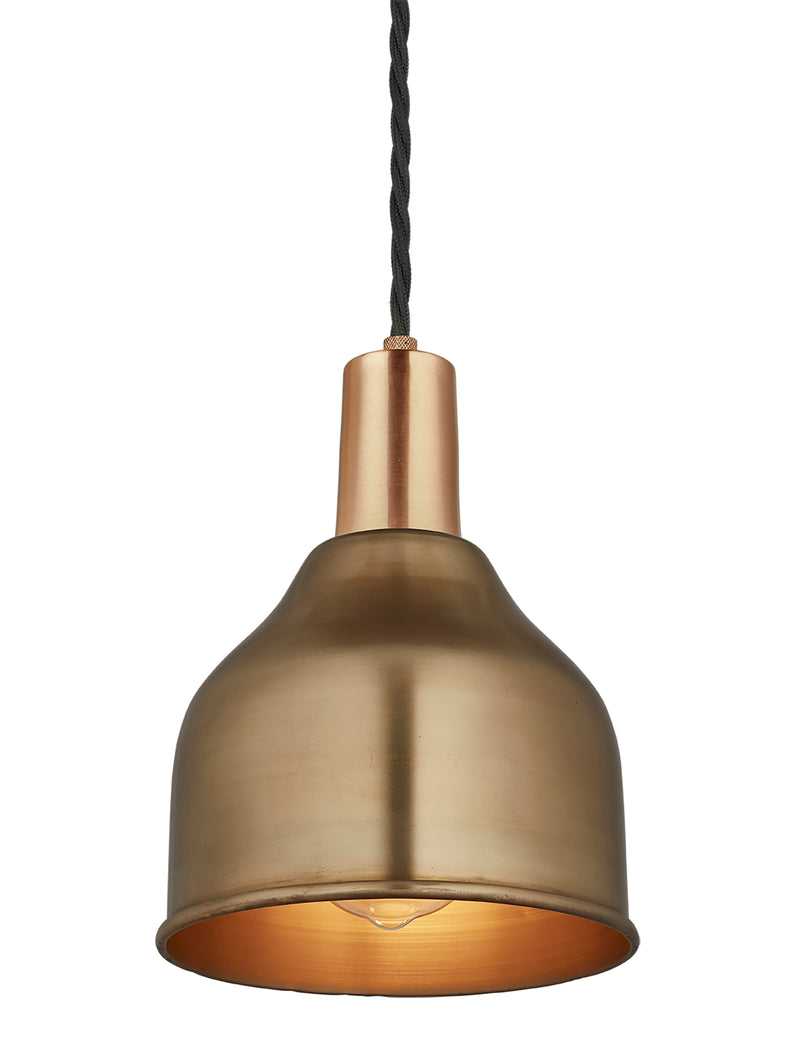 Industrial Brass Sleek Cone Pendant Light by Industville - Brass Holder