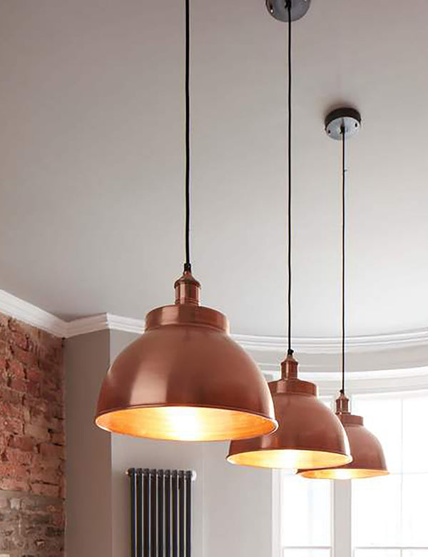 Industrial Brooklyn Dome Copper Pendant Light by Industville