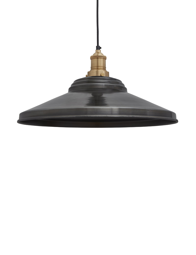 Industrial Brooklyn Giant Step Pewter Pendant Ceiling Light by Industville - Brass Holder