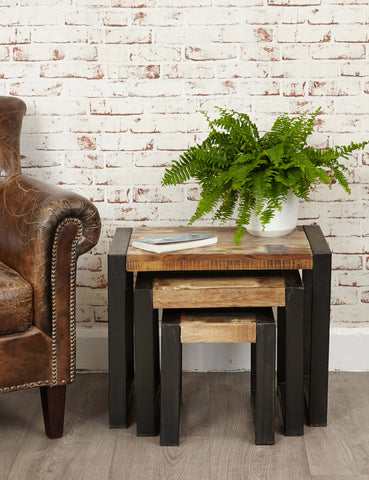 Industrial Reclaimed Side Table Trio