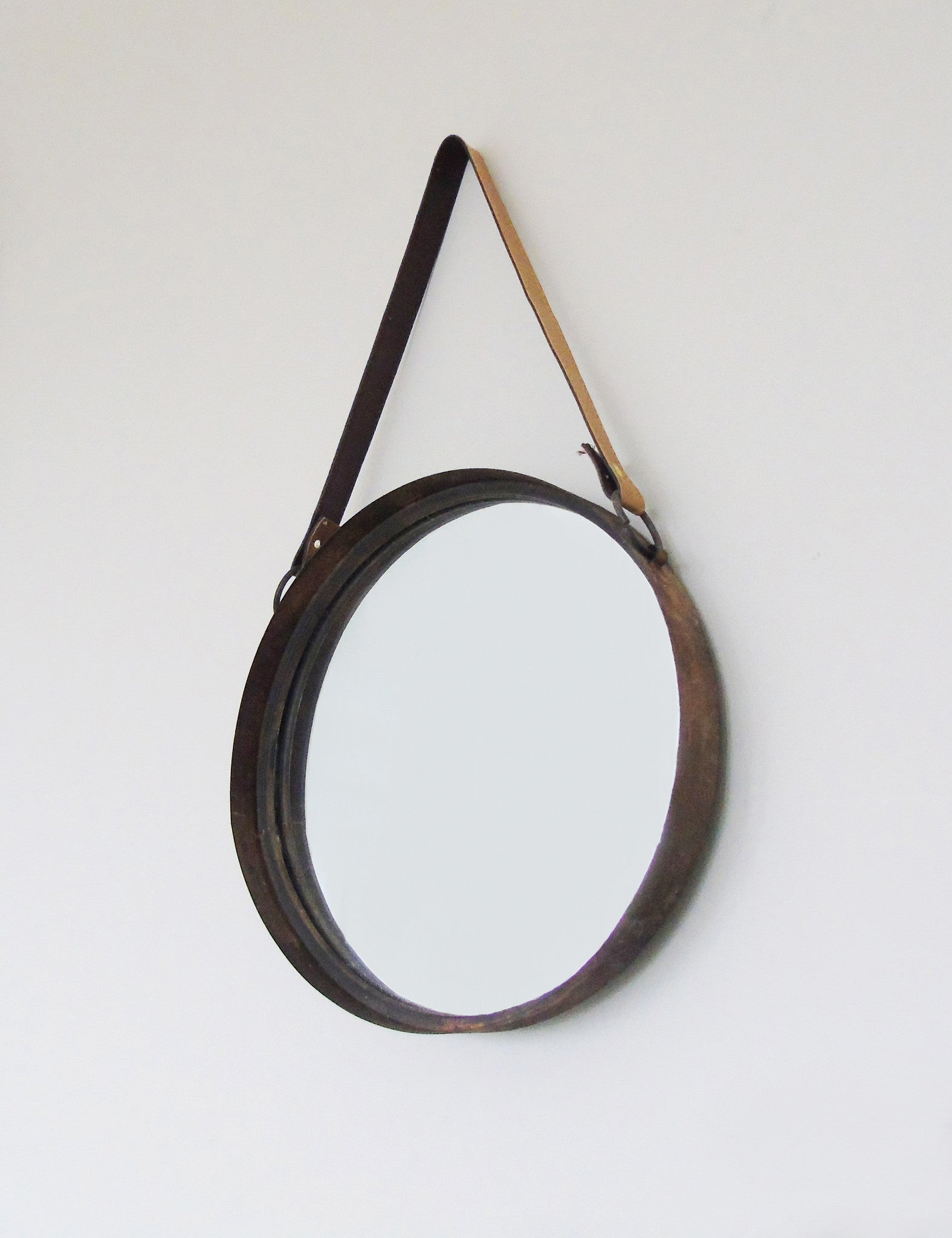 Industrial rustic round mirror the den now for Round mirror