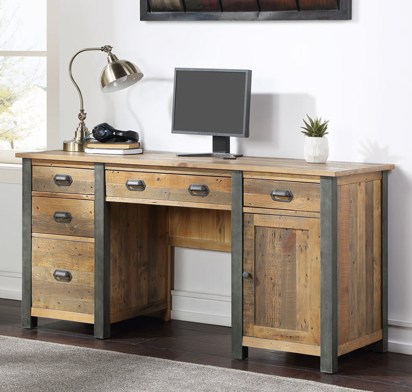 Industrial Rustic Twin Pedestal Home Office Desk
