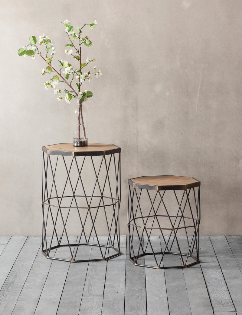 Industrial Set of Drum Side Tables