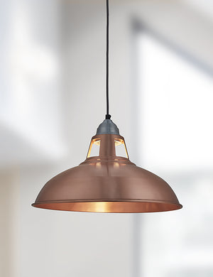 Industrial Vintage Old Factory Copper Pendant Light by Industville