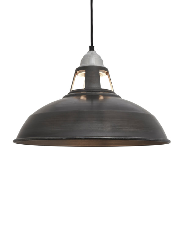 Industrial Vintage Old Factory Dark Pewter Pendant Light by Industville