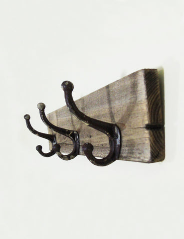 Iron and Wooden Triple Hook
